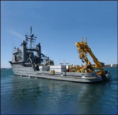 USNS Apache fitted with specialized equipment for this mission. Image credit: US Navy.