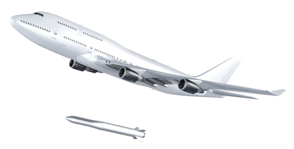 The LauncherOne rocket will be released from its 747-400 carrier aircraft at an altitude of 35,000 ft (10,700 m). Source: Virgin Orbit