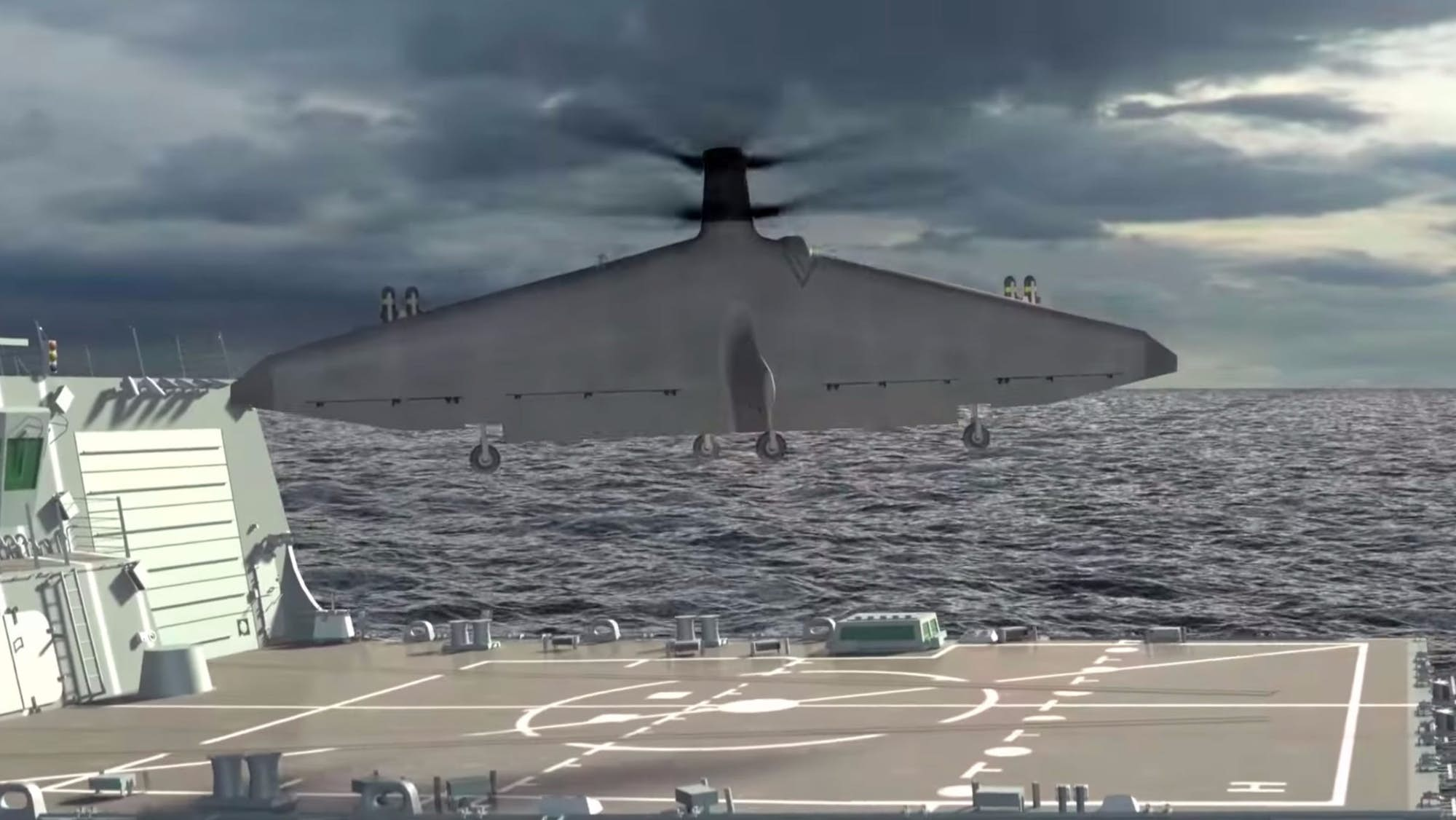 Concept graphics of the Tern UAS lifting off vertically from the flight deck of a ship at sea. Source: Northrop Grumman/YouTube