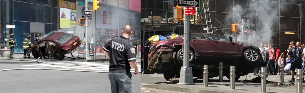 Figure 4—Bollards stopping ramming car in Times Square, New York City. Source: Business Insider