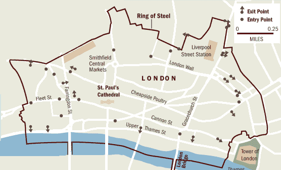 "Figure 11—London's ""ring of steel"" was established when IRA terrorism was plaguing the city. Source: Geozentrale"