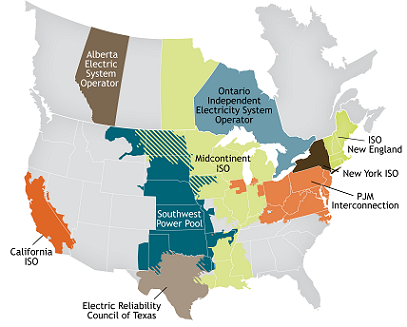 Map of North American ISOs and RTOs. Credit: ISO/RTO Council. (Click to enlarge)