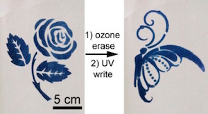 "The rewritable paper can be ""printed"" on with a stencil and ultraviolet light; it erases when exposed to oxygen in air or ozone. Image credit: American Chemical Society."