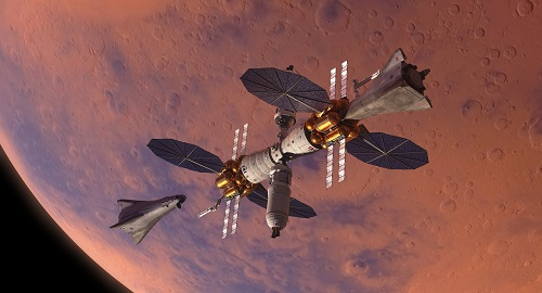 An artist's illustration of the Mars Base Camp. Source: Lockheed Martin