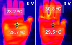Electrically-heated gloves keep fingers as warm as the palm of the hand. (Source: University of Massachusetts Amherst)