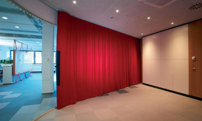 multiple sound curtains have been used at the headquarter of the german company hfele
