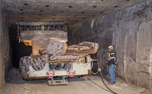 WIPP's continuous mining machine resumes operations. Source: U.S. Department of Energy