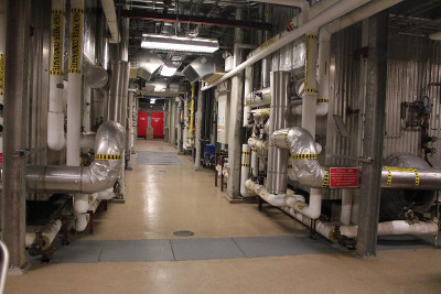 Dual steam generators, part of the combined heat and power (CHP) facility that powers New York University's microgrid. Credit: Berkeley Lab