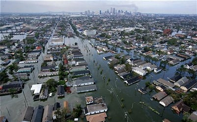 Levee failures flooded portions of New Orleans, Louisiana, after Hurricane Katrina struck the area in 2005. Image source: Wikimedia.