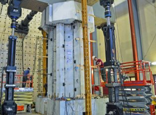 A Hexcrete cross-section is prepared for load tests. Image credit: Sri Sritharan.