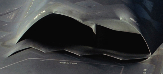 Cold air is sucked into the gap below the B-2's engine intake to be mixed with hot exhaust gases. Source: U.S. Air Force