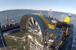 Grid-Connected In-Stream Tidal Turbine Deployed in Canada