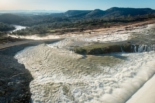 During the February incident, water was released through an emergency spillway.