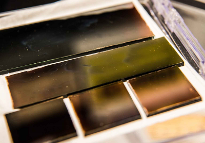 Samples of solar cells grown using a new perovskite ink. Image credit: Dennis Schroeder