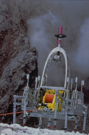 The Dante II robot prepares to make its descent into an Alaskan volcano. Technologies demonstrated by Dante may be put to use in future exploration of the moon and Mars, says Whittaker. Image source: CMU Robotics Institute.