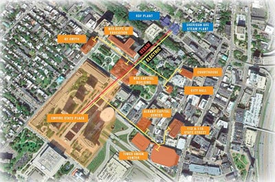 Map of the facilities served by the proposed Empire State Plaza microgrid project in downtown Albany. (Click to enlarge.) Image credit: Cogen Power Technologies