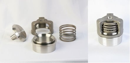 Figure 1. The individual components of the TPCI WG Sphera series spherical valve (left) and a fully assembled version (right) showing the large spring option. Source: Triangle Pump Components Inc.