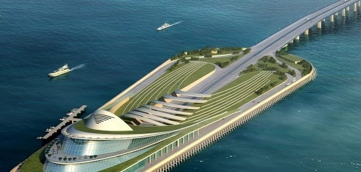 One of the artificial islands flanking the tunnel. (Source: TEC)