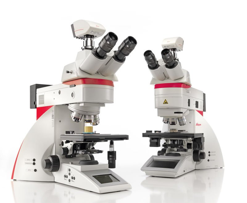 Figure 3: DM4 M and DM6 M automated upright microscopes from Leica Microsystems for materials science and materials analysis.