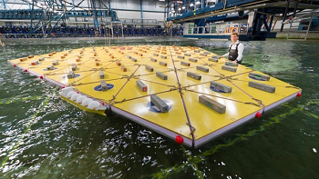 A model-scale floating mega island undergoing tests. Image credit: MARIN