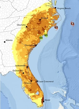 For Hurricane Matthew, researchers were able to forecast five days ahead of time that 4.5 million people would be without power across the southeastern U.S. Image credit: OSU.