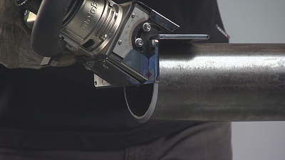 Figure 2:  Pipe beveling in action.