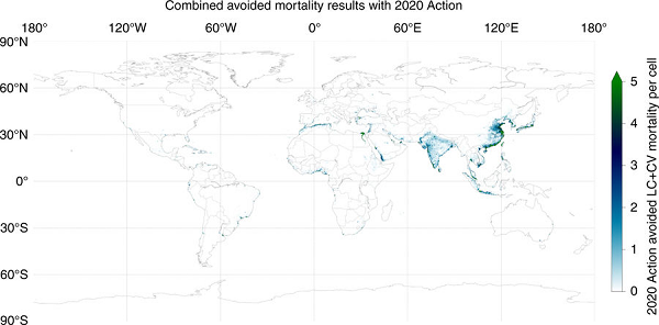 Map of avoided mortality (cardiovascular disease and lung cancer) from reduced ship PM2.5 emissions due to implementation of the International Maritime Organization's low-sulfur fuel standards in 2020. Annual avoided mortality minimum and maximum are 0 and 800, respectively. Source: Nature Communications