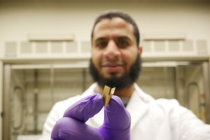 Ph.D. student Islam Mosa developed an ultrathin supercapacitor capable of generating enough power to sustain a cardiac pacemaker. Source: Islam Mosa.
