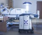A Xenex Germ-Zapping Robot pulses germicidal ultraviolet light to combat hospital-acquired infections.
